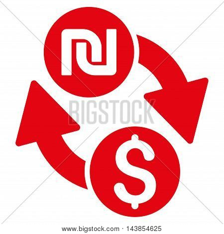 Dollar Shekel Exchange icon. Vector style is flat iconic symbol with rounded angles, red color, white background.