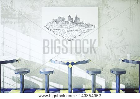 Construction sketch above empty tables and chairs in cafe dining area. 3D Rendering