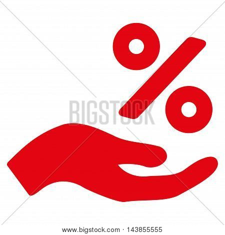 Percent Offer Hand icon. Vector style is flat iconic symbol with rounded angles, red color, white background.