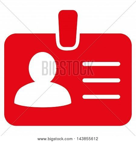 Person Badge icon. Vector style is flat iconic symbol with rounded angles, red color, white background.