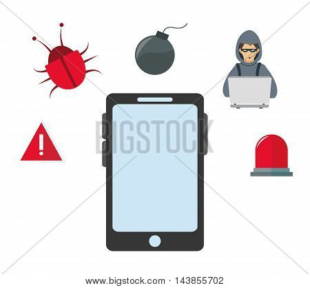 smartphone hacker bug alarm cyber security system technology icon. Colorful and flat design. Vector illustration