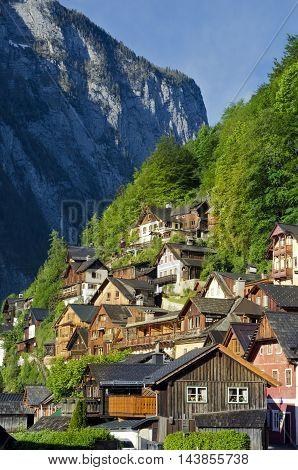 Traditional Houses Of Alpine Hallstatt Town. Salzkammergut, Austria