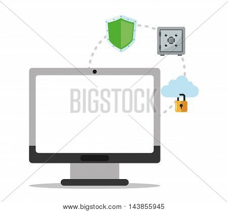 computer padlock cloud shield cyber security system technology icon. Colorful and flat design. Vector illustration