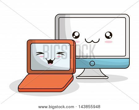computer laptop kawaii cartoon smiling technology icon. Colorful and flat design. Vector illustration