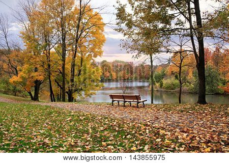 A Walking Path And Park Bench Overlooking A Lake On A Rainy Day In Autumn Sharon Woods Southwestern Ohio