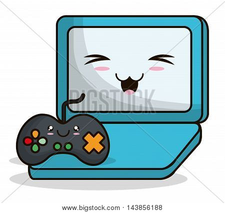 videogame control laptop kawaii cartoon smiling technology icon. Colorful and flat design. Vector illustration