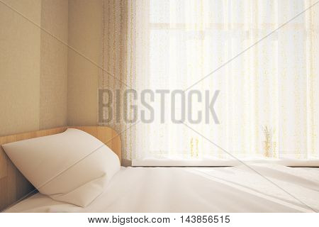 Bed, Curtains And Sunlight