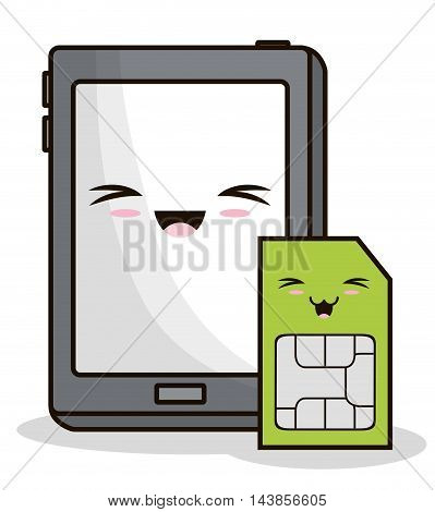 tablet sms kawaii cartoon smiling technology icon. Colorful and flat design. Vector illustration