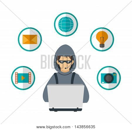hacker laptop envelope bulb camera cyber security system technology icon. Colorful and flat design. Vector illustration