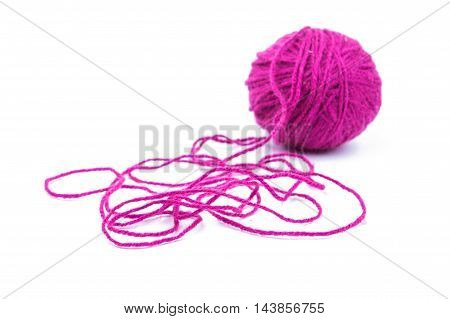 ball of yarn woolen on white background