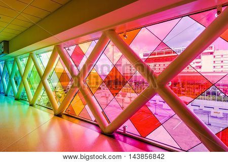 MIAMI, FLORIDA - JULY 9, 2016: Colorful glass at Miami International Airport.