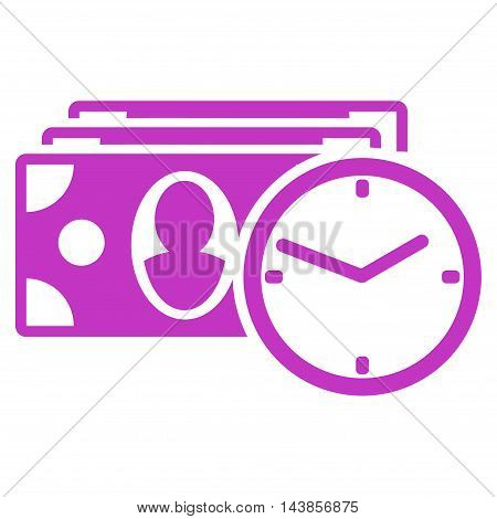 Cash Credit icon. Vector style is flat iconic symbol with rounded angles, violet color, white background.