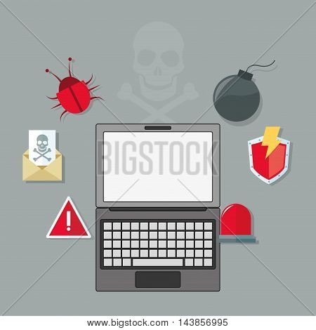 laptop bug bomb alarm cyber security system technology icon. Colorful and flat design. Vector illustration