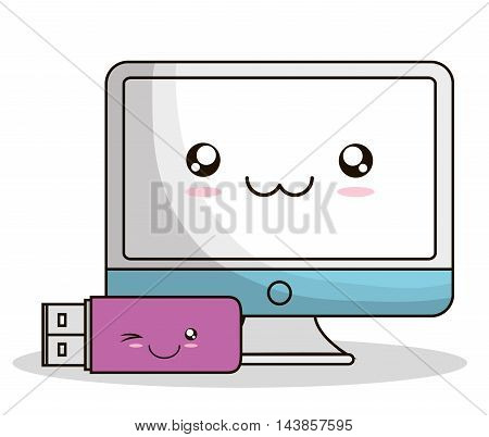computer usb kawaii cartoon smiling technology icon. Colorful and flat design. Vector illustration