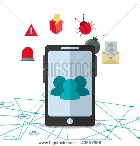 smartphone alarm envelope bug cyber security system technology icon. Colorful and flat design. Vector illustration