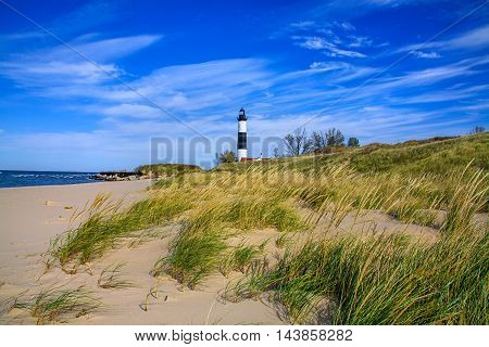 A Sandy Beach And Beach Grass At The Big Sable Point Lighthouse On Lake Michigan Michigan's Lower Peninsula USA