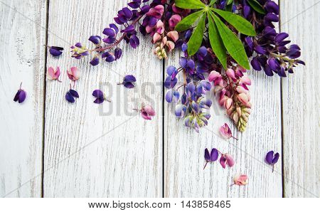 Lupine Flowers On A  Table