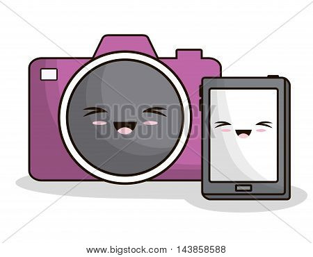 tablet camera kawaii cartoon smiling technology icon. Colorful and flat design. Vector illustration