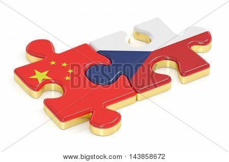 Czech Republic and China puzzles from flags 3D rendering