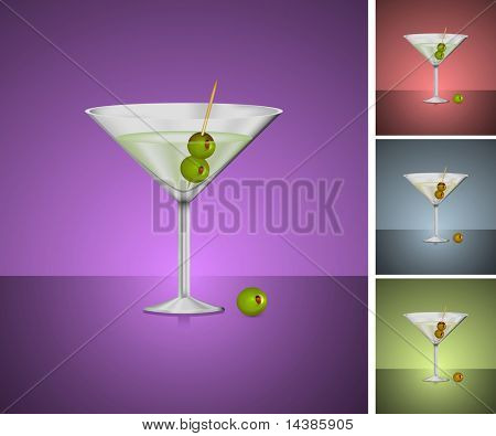 Original Vector Illustration: martini glass set