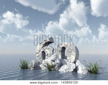 number sixty rock at water - 3d illustration