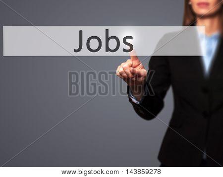Jobs - Businesswoman Pressing Modern  Buttons On A Virtual Screen