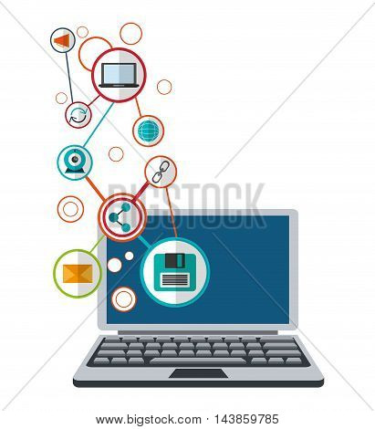 laptop envelope diskette cam share cyber security system technology icon. Colorful and flat design. Vector illustration