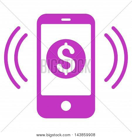 Payment Phone Ring icon. Vector style is flat iconic symbol with rounded angles, violet color, white background.