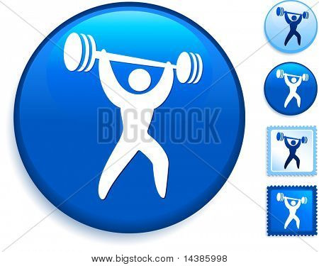 Weight Lifting Icons on Internet Button Original Vector Illustration