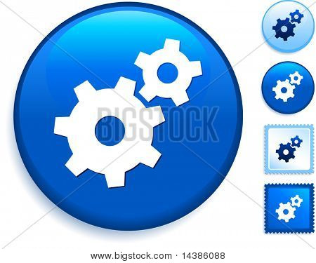 Gear Icon on Internet Button Original Vector Illustration
