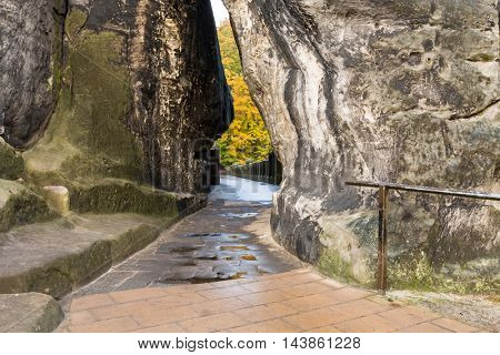Bastei bridge on Saxony mountains