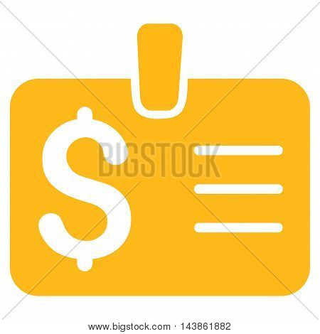 Dollar Badge icon. Vector style is flat iconic symbol with rounded angles, yellow color, white background.