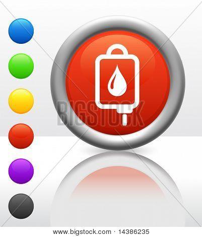 IV bloed pictogram op Internet knop oorspronkelijke vectorillustratie
