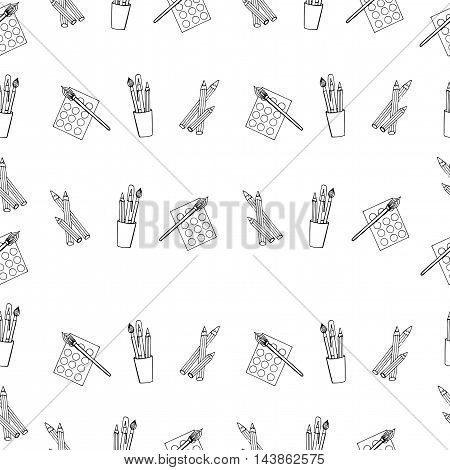 Seamless pattern with pencils paints brush pen isolated on the white background.