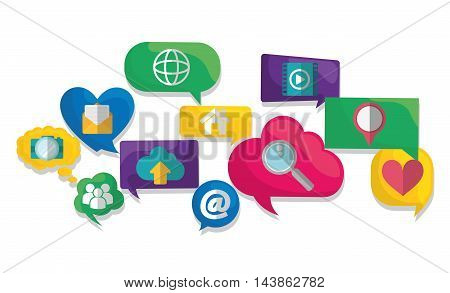 bubble global lupe heart cloud camera social network communication media con. Colorful and flat design. Vector illustration