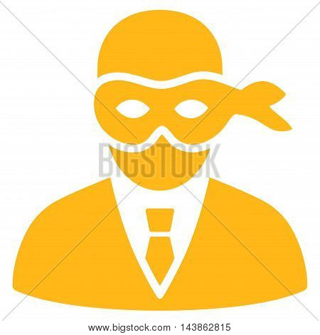 Masked Thief icon. Vector style is flat iconic symbol with rounded angles, yellow color, white background.