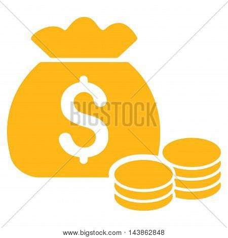 Money Bag icon. Vector style is flat iconic symbol with rounded angles, yellow color, white background.