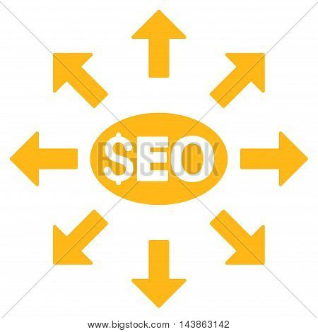 Seo Distribution icon. Vector style is flat iconic symbol with rounded angles, yellow color, white background.