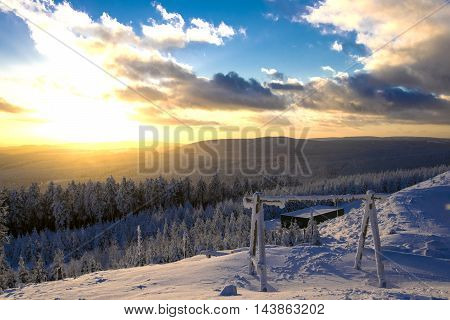 A perfect sunset in the Harz National Park, Germany