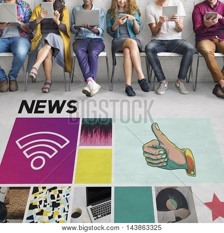 News Report Update Media Broadcast Information Concept
