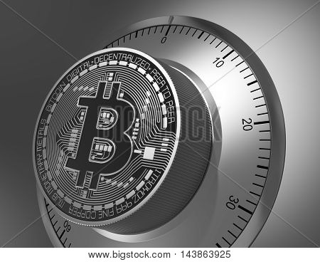 Concept Of Bitcoin Like A Safe Lock. 3D Illustration.