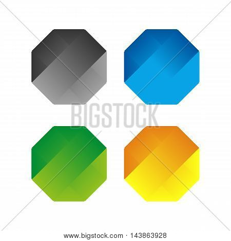 Isolated abstract polygonal vector logo set. Colorful hexagons on the white background collection. Simple flat geometric polygons vector illustration