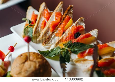Sandwich with salmon laid out on a white dish