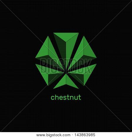Geometrically stylish green leaves of chestnut. Triangles isolated shape. Abstract vector logo design template. Faceted gem