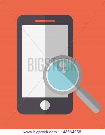 smartphone lupe social network communication media con. Colorful and flat design. Vector illustration