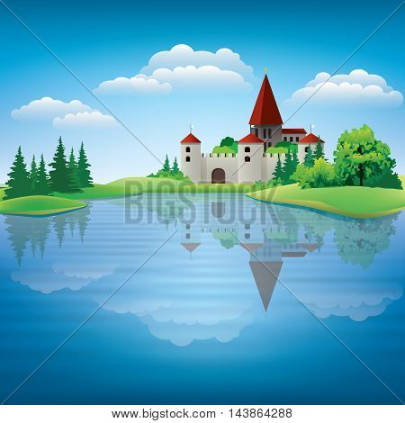 Cartoon Hand Drawing Color Castle Illustration