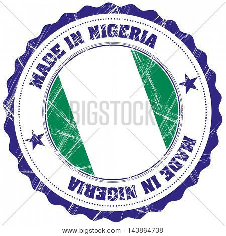 Made in Nigeria grunge rubber stamp with flag