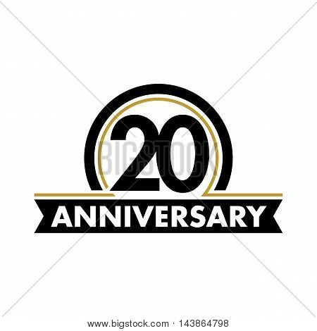 Anniversary vector unusual label. Twentieth anniversary symbol. 20 years birthday abstract logo. The arc in a circle. 20th jubilee