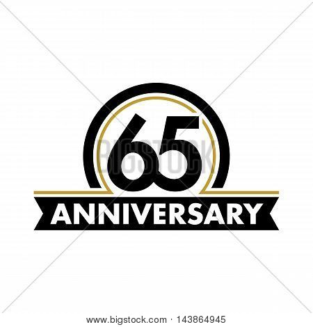 Anniversary vector unusual label. Sixty-fifth anniversary symbol. 65 years birthday abstract logo. The arc in a circle. 65th jubilee