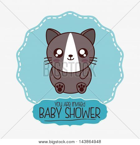 cat kawaii cartoon smiling baby shower icon. Colorful and seal stamp design. Vector illustration